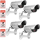 Fake Camera, FITNATE Dummy Camera CCTV Surveillance System with LED Red Flashing Light with 4 Safety Warning Stickers, Fake Security Camera for Outdoor & Indoor Use (4 Packs, Silver)