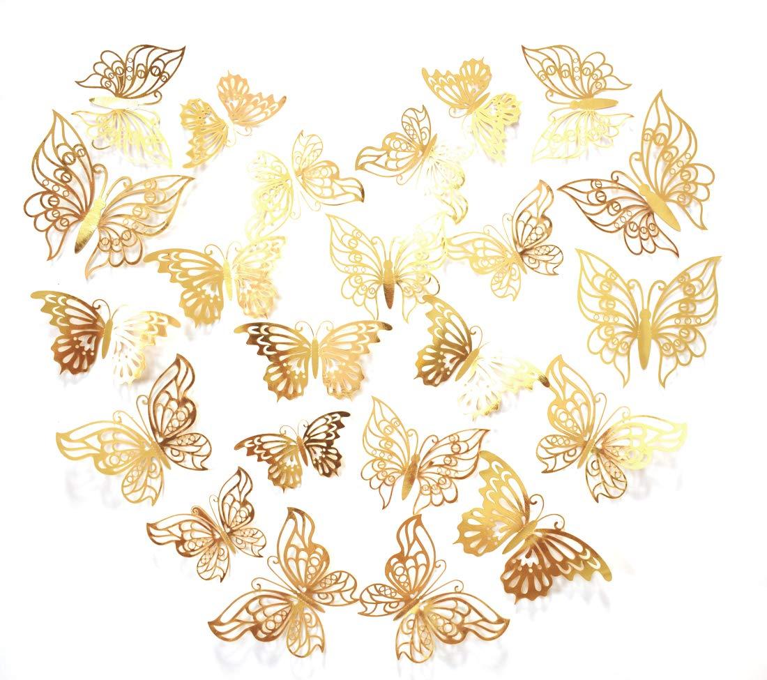 48pcs Gold Butterflies for Wall Decor, 3D Butterflies for Girl Bedroom, Butterfly Decal for Wall Decoration, Fancy Golden Butterflies Sticker for Nursery Decor