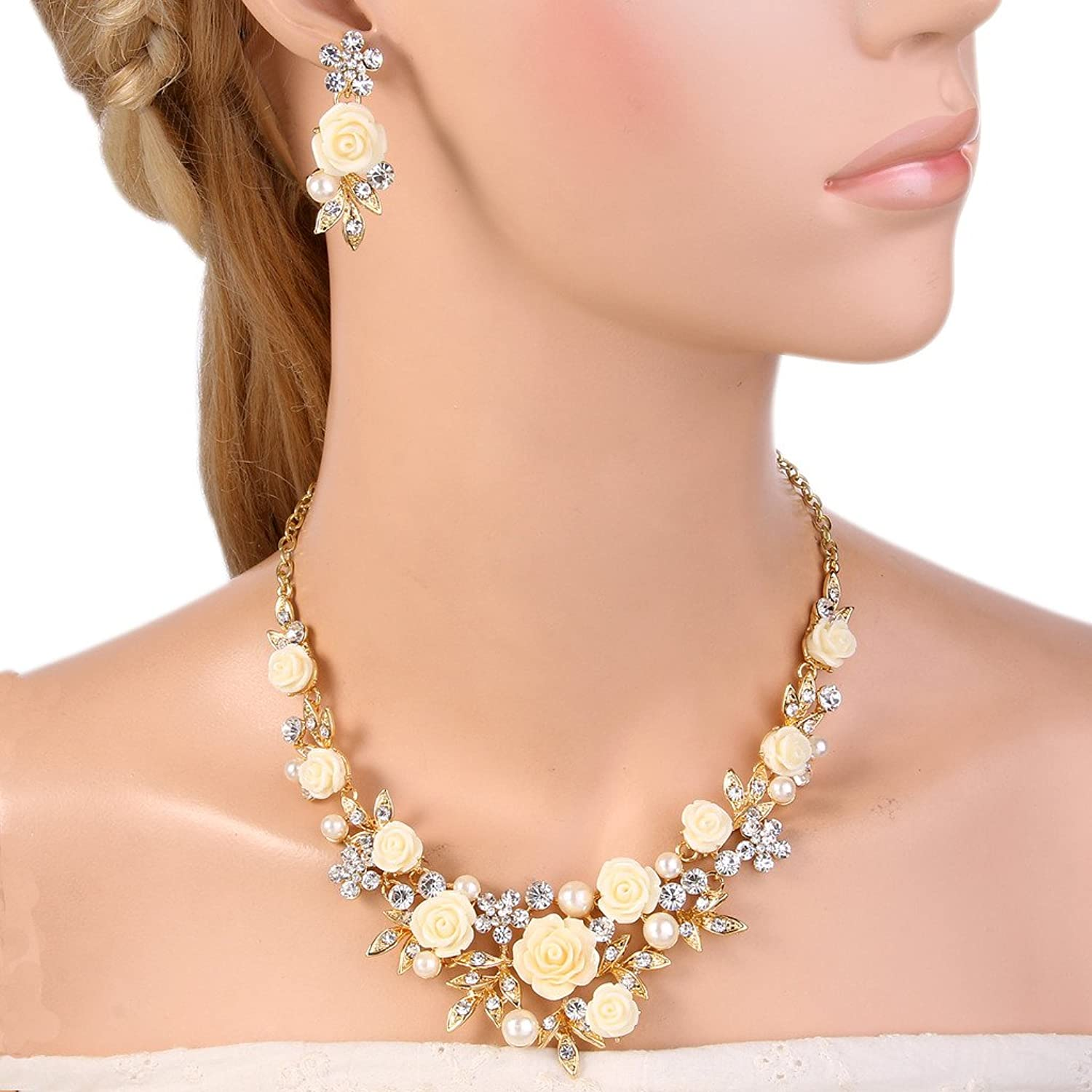 1950s Jewelry Styles and History EVER FAITH Womens Austrian Crystal Simulated Pearl Rose Flower Leaf Necklace Earrings Set $22.99 AT vintagedancer.com