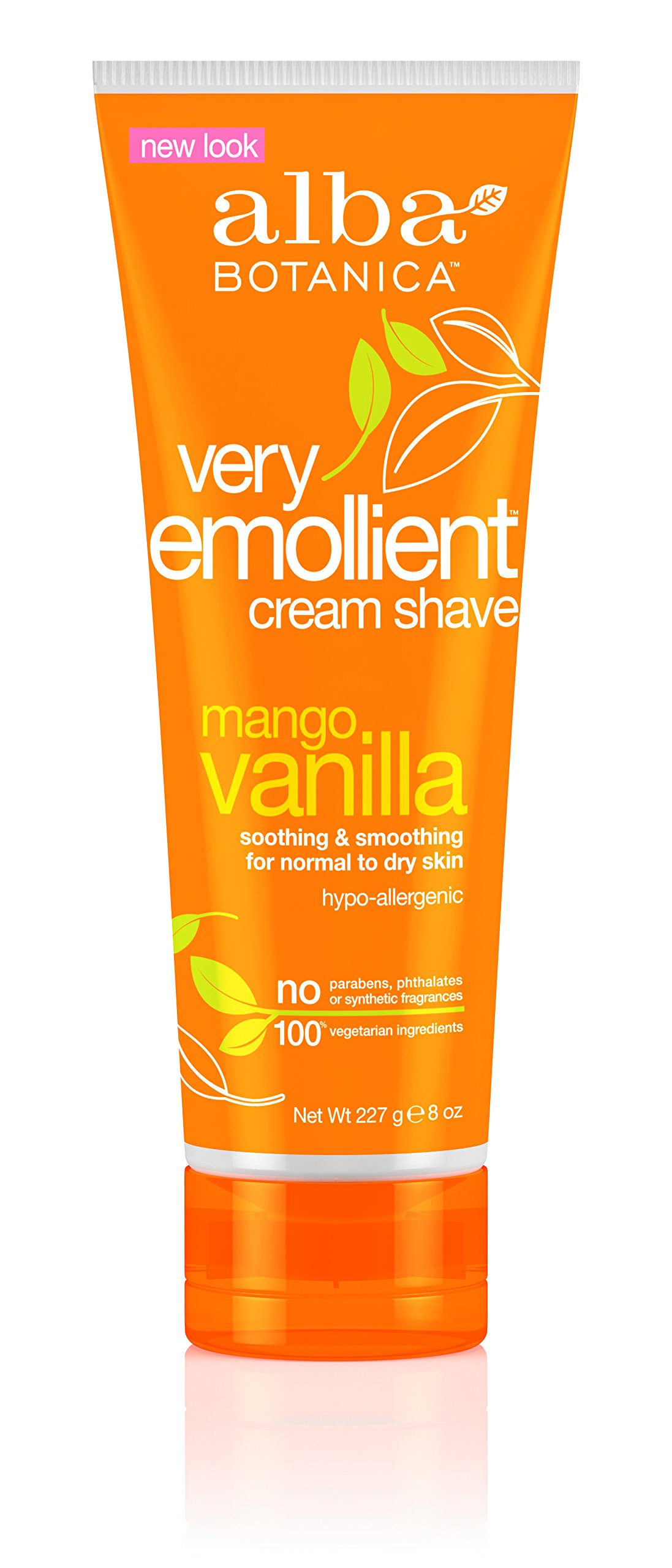 Alba Botanical Mango Vanilla Very Emollient Cream Shave, 8 Ounce Tubes (Pack of 4)