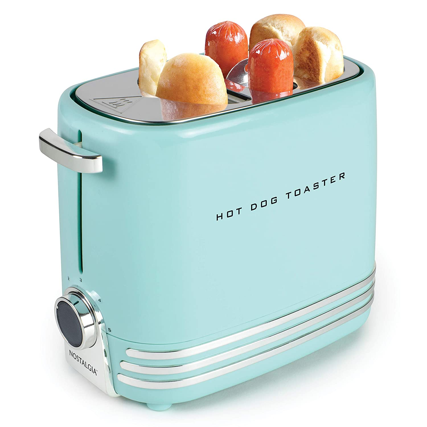 Nostalgia HDT900AQ Pop-Up 2 Hot Dog and Bun Toaster With Mini Tongs, Works with Chicken, Turkey, Veggie Links, Sausages and Brats, Aqua Chrome