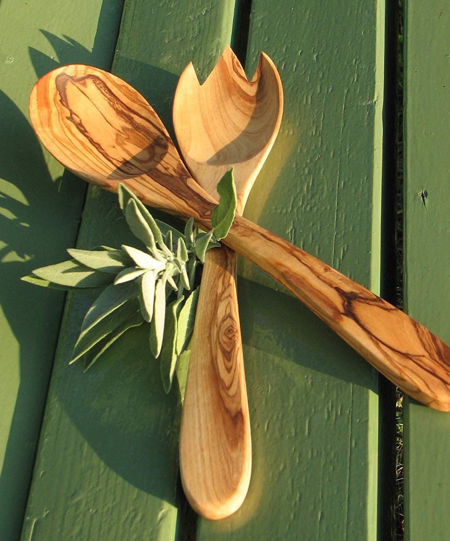 Figura Santa Salad servers PRIMAVERA (oiled). Approx. 30 cm. Hand-carved from olive wood. Original quality. Salatbesteck Primavera ca. 30 cm