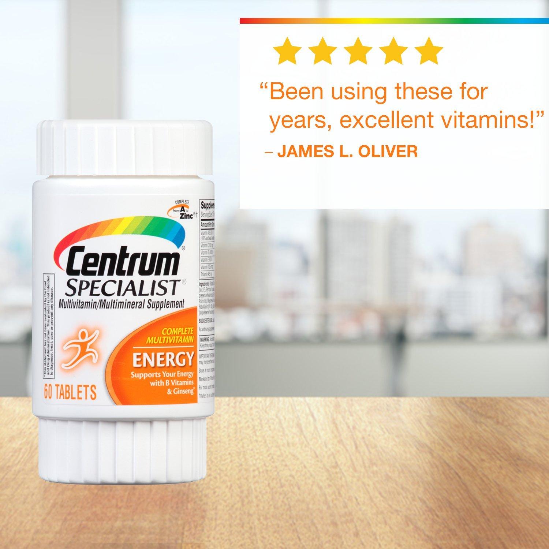 Centrum Specialist Energy Complete Multivitamin Supplement (60-Count Tablets): Amazon.es: Salud y cuidado personal
