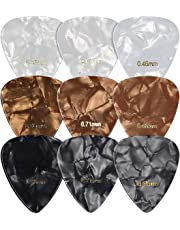 kwmobile Set of 9 Guitar Picks - Includes Thin, Medium, Heavy Gauges for Acoustic, Electric or Bass Guitar, Ukulele - Black / White / Gold