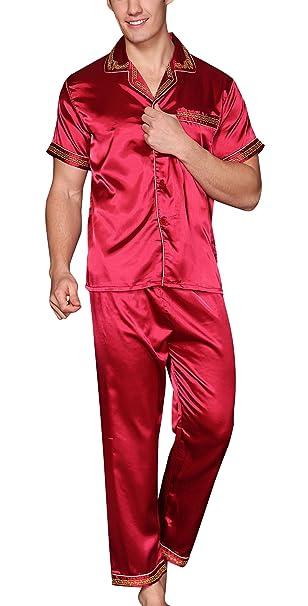 Yanqinger - Hombre Satén Pijamas Conjuntos de 2 Piezas para Dormir Sleepwear for Men Elegante en