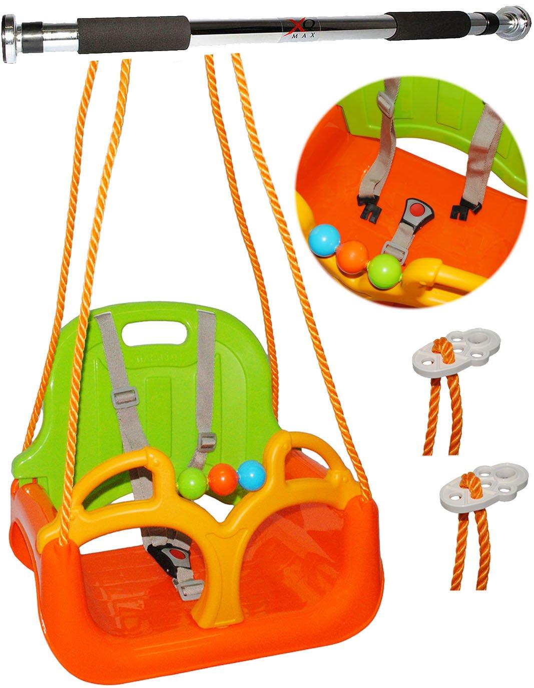 2 tlg. Set: mitwachsende - Kinderschaukel / Babyschaukel / mit Gurt + Türreck - Gitterschaukel mitwachsend & verstellbar -  ORANGE / GRÜN / GELB  - leichter Einstieg ! - 100 kg belastbar - Kinderschaukel ab 1 Jahre - Reck für Türrahmen Befestigung - Stange - Türstange - mit Rückenlehne & Seitenschutz - Schaukel für Kinder - Innen und Außen / Garten - für Baby´s - Sicherheitsgurt - Gitterschaukel / Kleinkindschaukel - Baby - aus Kunststoff / Plastik - Kunststoffschaukel - mitwachsend
