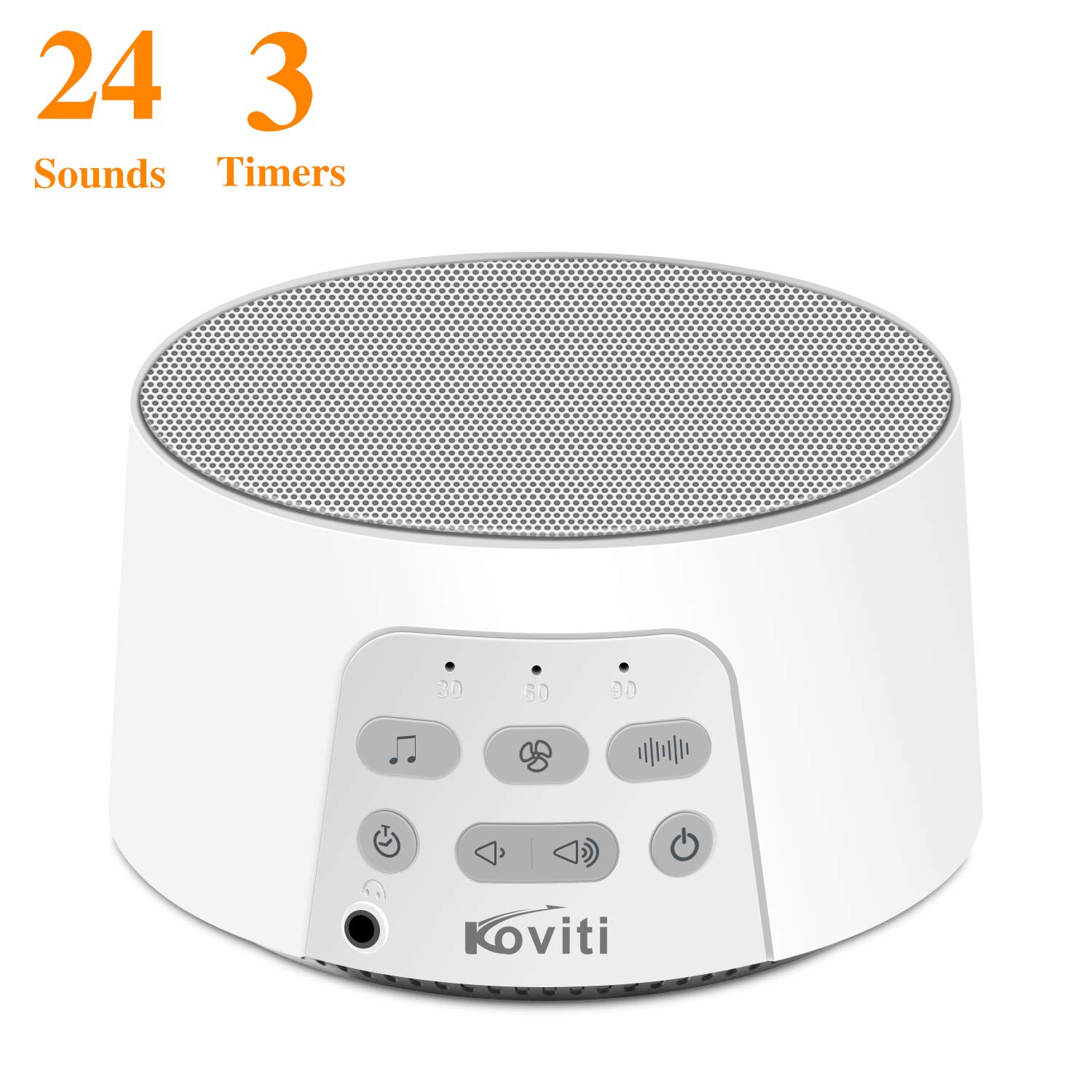 White Noise Machine with 24 High Fidelity&Soothing Sounds,Koviti Sound Machine with Timer&Memory Feature for Sleeping&Relaxation,Noise Machine with USB Cable for Kids,Adults,Home,Office or Travel by Koviti