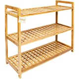 Woodluv 3-Tier Criss Cross Tidy Shelf Organiser/Shoe Rack Stand, Natural Bamboo