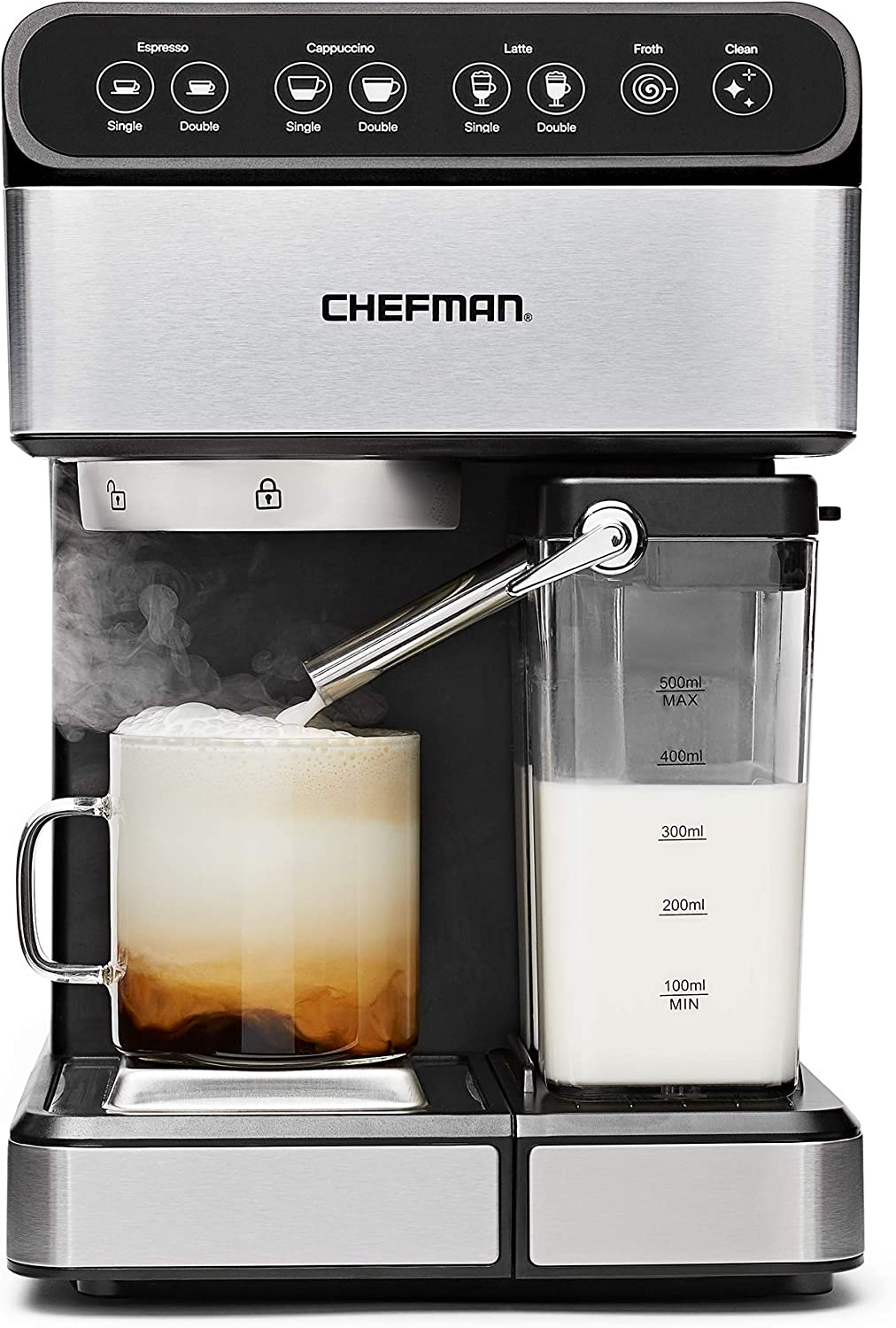 Chefman 6-in-1 Espresso Machine Powerful 15-Bar Pump, Brew Single or Double Shot, Built-In Milk Froth for Cappuccino & Latte Coffee, XL 1.8 Liter Water Reservoir, Dishwasher-Safe Parts,Stainless Steel