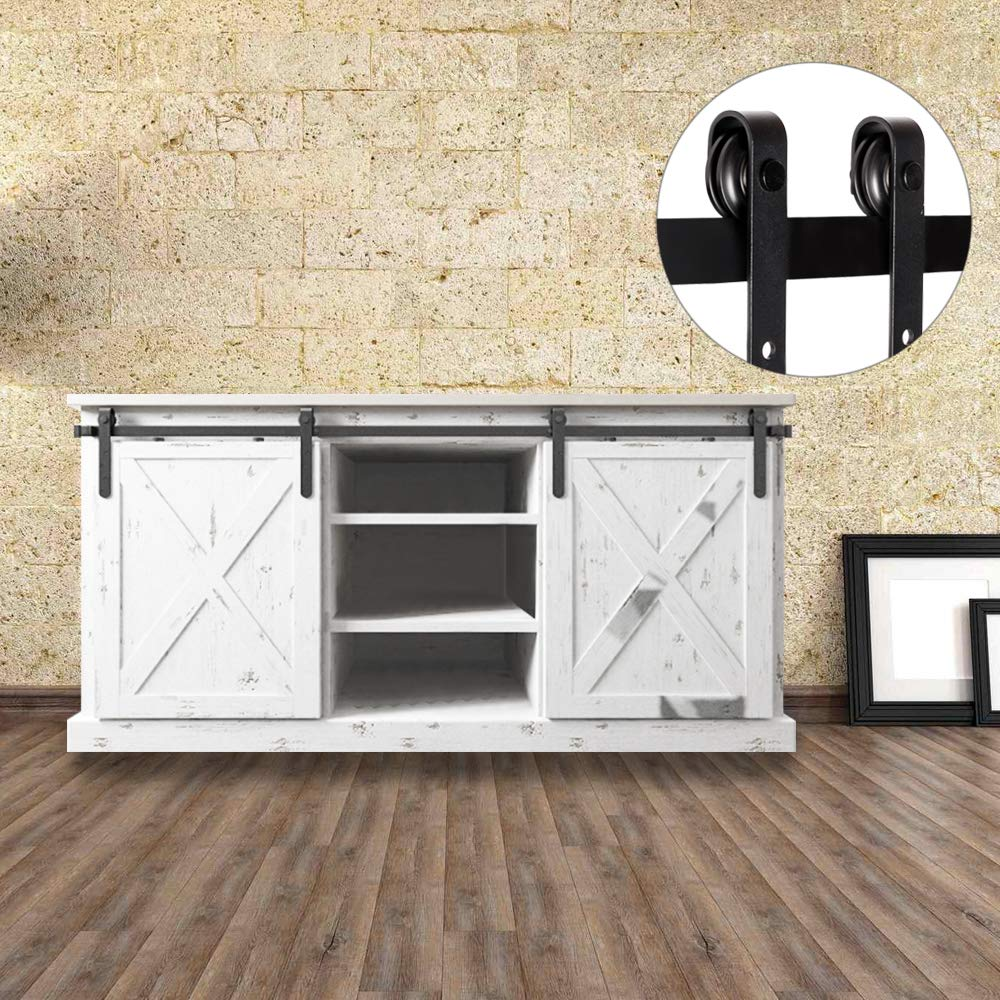 Bonnlo 6.6ft Double Door Mini Sliding Barn Wood Closet Door Interior Door Sliding Track Hardware Kit Perfect for Cabinet TV Stand Set (Black)(2 x 3.3 ft Rail)(J Shape Hangers)