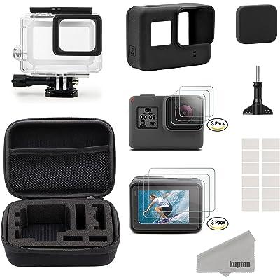 Kupton GoPro Hero7 Black/2018/6/5 Black para Accesorios Kit, Estuche de Viaje Pequeño+Carcasa Case+Protector de Pantalla+Cubre Lente+Montura de Silicona para Go Pro Hero7 Black/2018/6/5