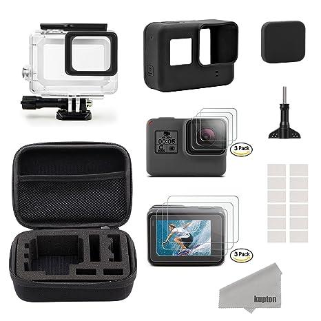Kupton GoPro Hero7 Black/2018/6/5 Black para Accesorios Kit, Estuche de Viaje Pequeño+Carcasa Case+Protector de Pantalla+Cubre Lente+Montura de ...