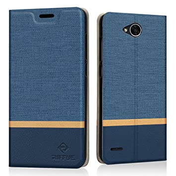 Funda LG X Power 2, Riffue Carcasa PU Ultra Delgada con Cartera de Estilo Libro Vaquero Protectora de Folio Flip Case para LG XPower 2 - Azul