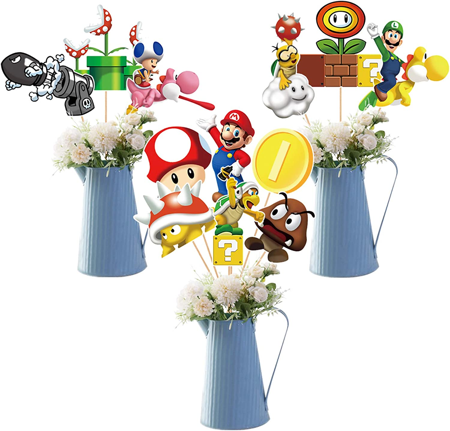 Super Mario Party Table Toppers – Mario Brother Louis, Princess Peach, Yoshi Party Decorations Centerpiece Sticks – For Baby Shower Birthday Party Centerpiece Sticks Table Toppers Photo Booth Props