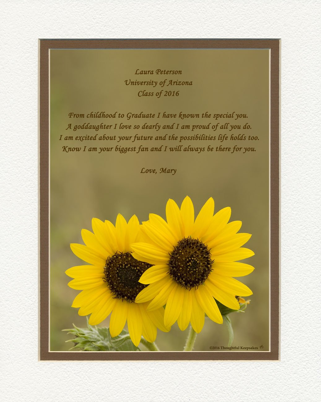 Personalized Goddaughter Graduation Gift with ''From Childhood to Graduate'' Poem, Sunflowers Photo, 8x10 Double Matted. Special Keepsake Graduation Gifts for Goddaughter