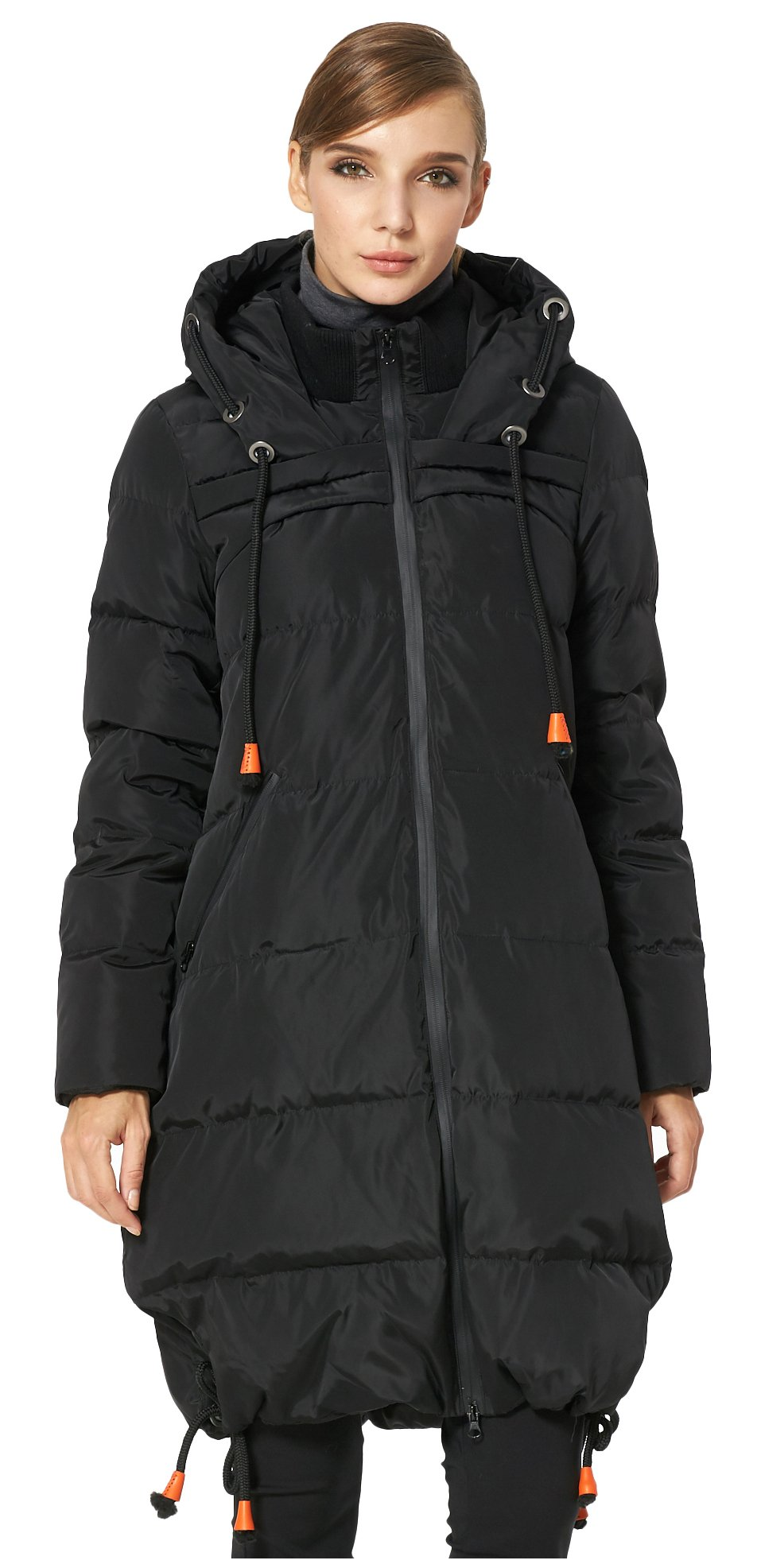 Orolay Women's Thickened Contrast Color Drawstring Down Jacket Hooded Black 2XL