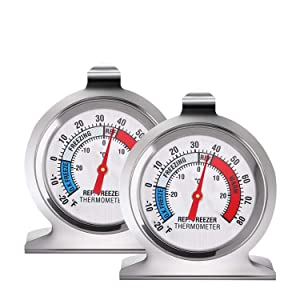 2 Pack Refrigerator Thermometer -30~30°C/-20~80°F, Classic Fridge Thermometer Large Dial with Red Indicator Thermometer for Freezer Refrigerator Cooler