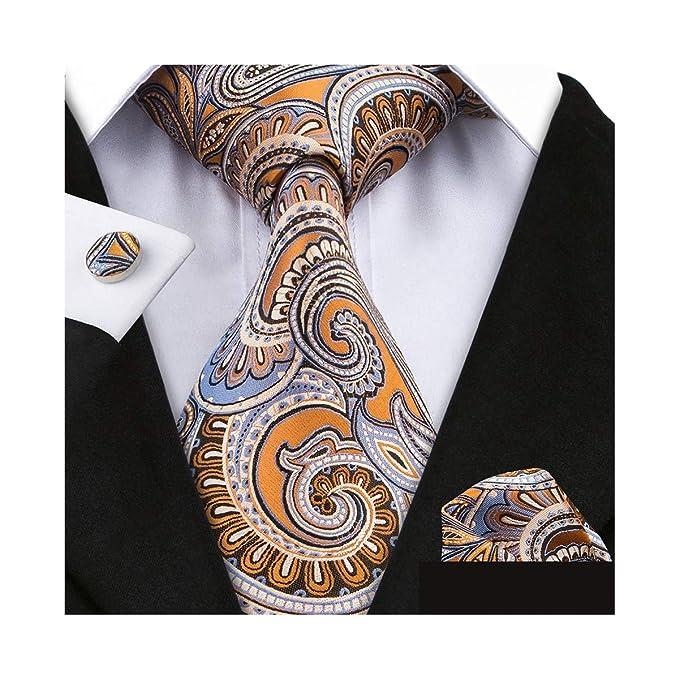 Barry.Wang Pañuelo de bolsillo de corbata de seda naranja para ...