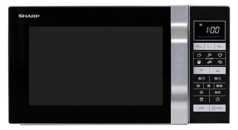 Sharp R-860S 3-in-1 Mikrowelle, Grill und Heißluft / 25 L / 900 W / 49cm / Ebener Boden und somit eine größere Auflagefläche, auch für eckiges Geschirr / Programmautomatik / Gewicht- und zeitgesteuertes Auftauen / edelstahl Sharp Home Appliances 18100659