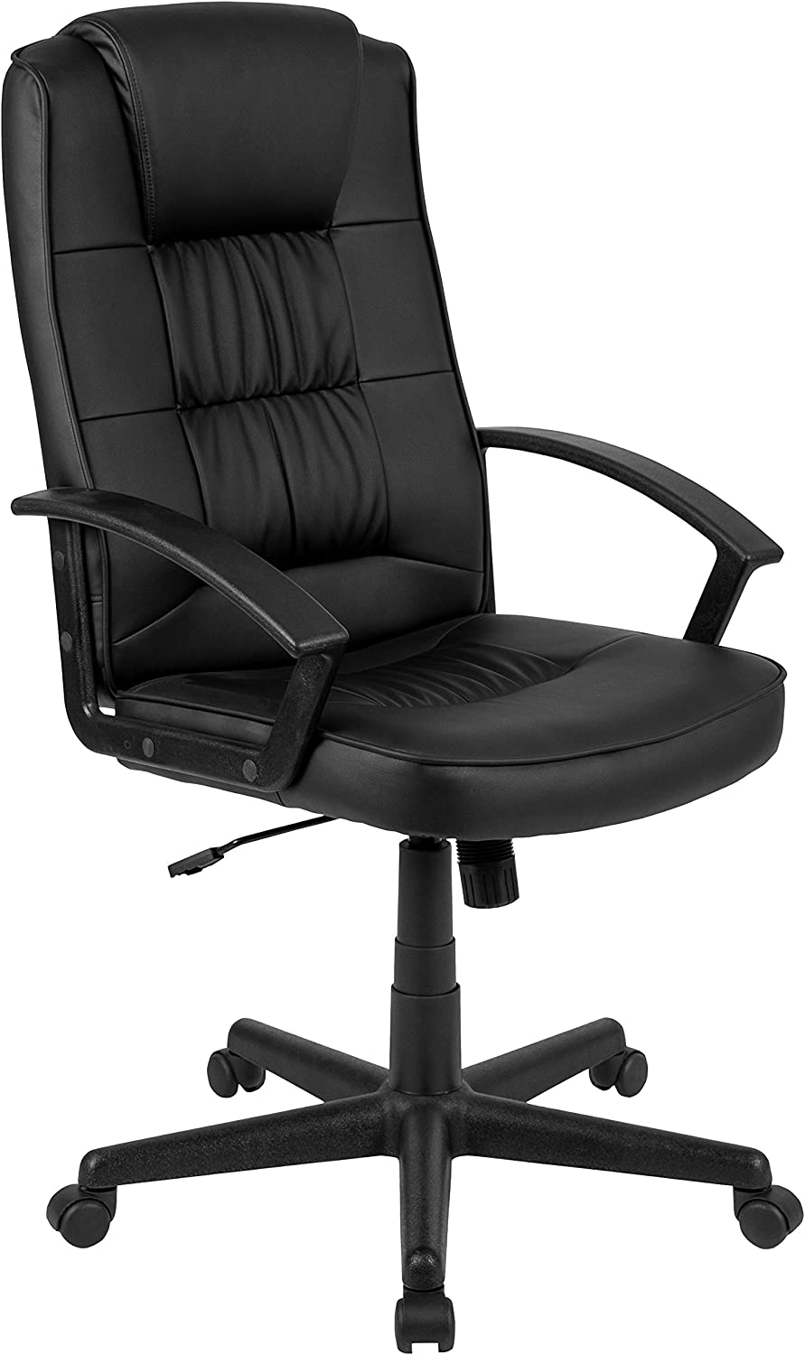 Flash Fundamentals High Back Black LeatherSoft-Padded Task Office Chair with Arms, BIFMA Certified
