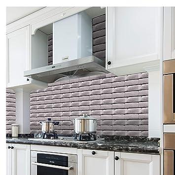 L And Stick Kitchen Backsplash   Amazon Com Seavish Subway Tile Stickers Grey Shabby Travertine
