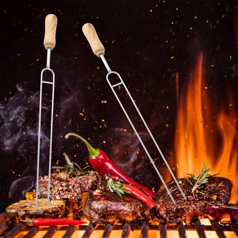 Stainless Steel Fork Wood Handle U-shaped BBQ Roast Needle Skewers Forks Camp Kitchen Equipment Skewers Aufee U-shaped BBQ Fork