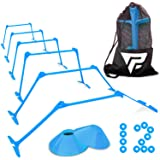 """Pro Adjustable Hurdles and Cone Set – 6 Agility Hurdles (6"""", 9"""" or 12"""" Height) with 12 Disc Cones for Soccer, Sports, Plyometric Speed Training – Includes Carry Bag & 2 Agility Drills eBooks"""