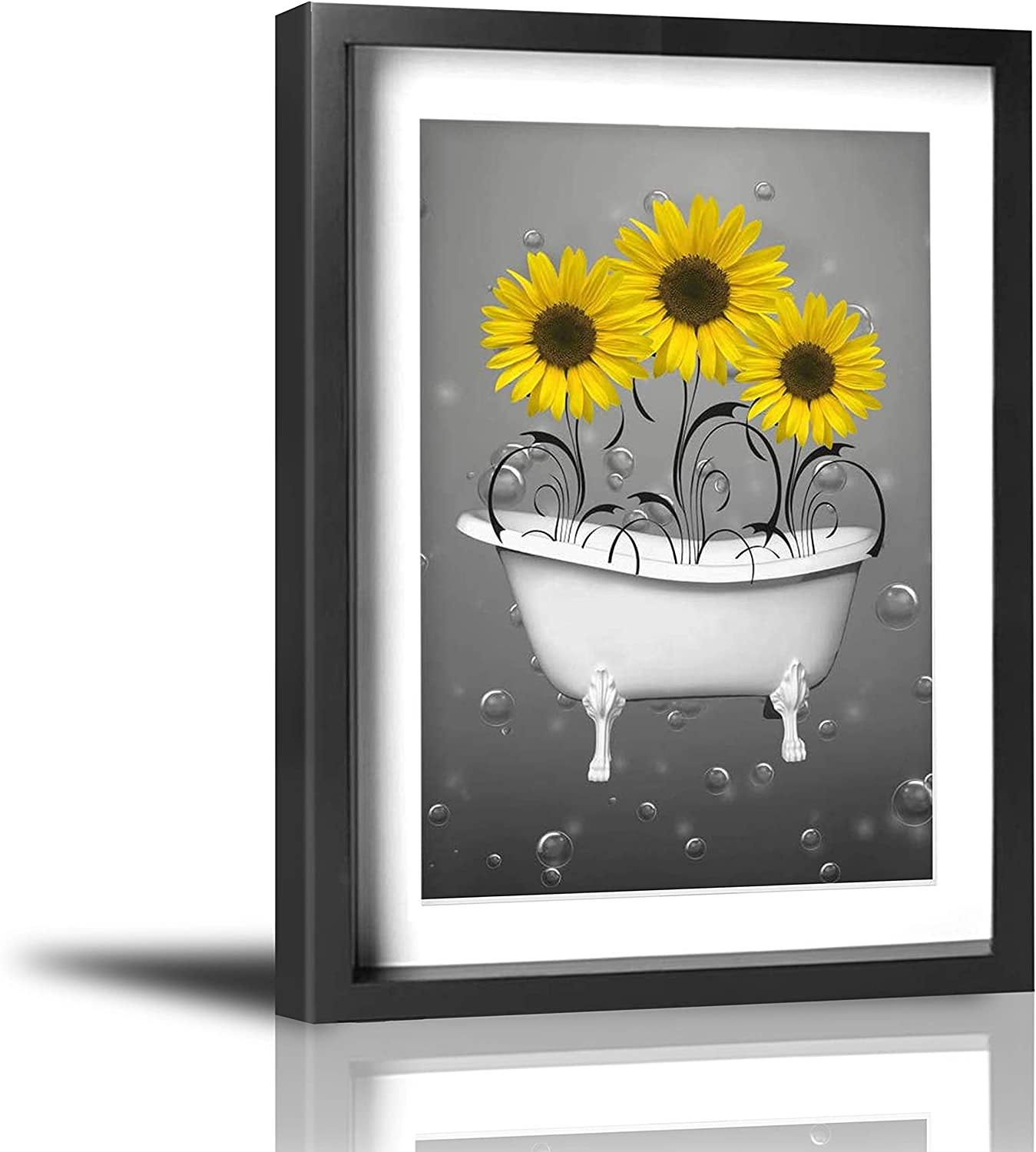 Amazon Com Coolertaste Yellow Grey Sunflowers In Bathtub Bubbles Bathroom Wall Decor Vintage Rustic Canvas Wall Art Prints Framed Pictures Artwork Ready To Hang 12 X 16 Posters Prints