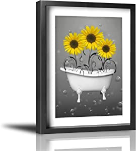 """Coolertaste Yellow Grey Sunflowers in Bathtub Bubbles Bathroom Wall Decor Vintage Rustic Canvas Wall Art Prints Framed Pictures Artwork Ready to Hang 12"""" x 16"""""""