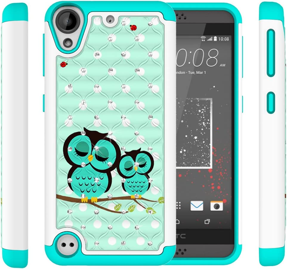 Vfunn HTC Desire 530 Case, HTC Desire 626/626s Case, [Shock Absorption] Rhinestone Bling Hybrid Dual Layer Armor Protective Case Cover for HTC Desire 530/630/550/555 (Owl)
