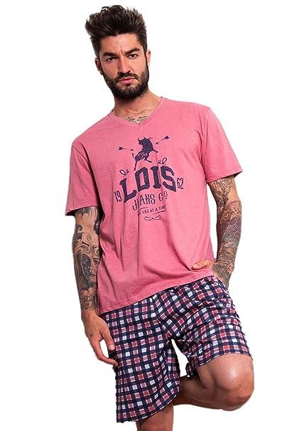 Pijama Manga Corta Hombre Lois Arrow, Color Apricot, Talla M