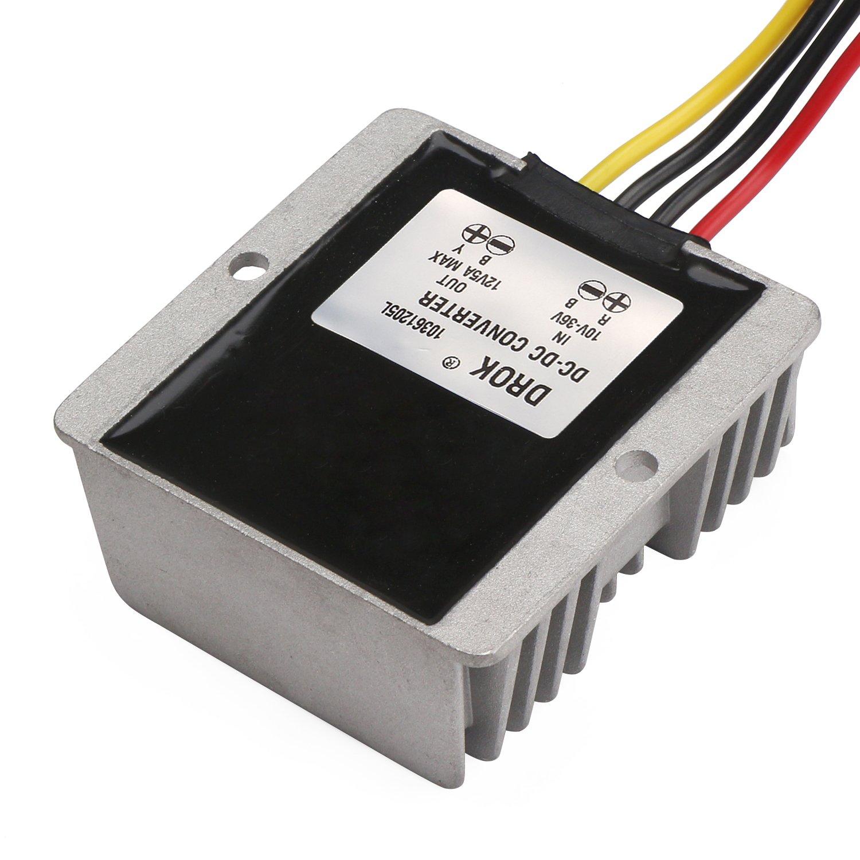 DROK Waterproof 60W Automatic Step Up//Down Voltage Regulator Stabilizer 10V-36V to 12V 5A