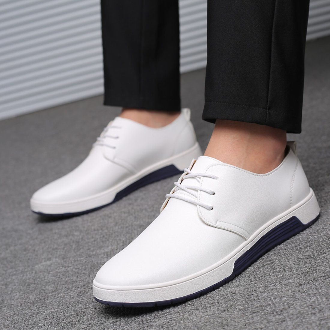 SANTIMON Mens Casual Oxford Shoes Breathable Leather Flat Fashion Sneakers Sandals
