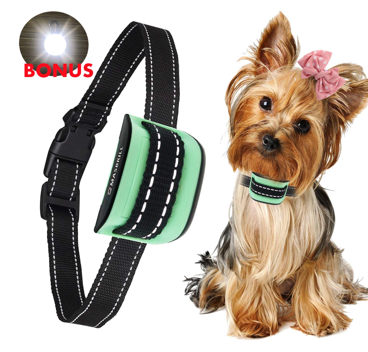 MASBRIL Dog Bark Collar - Upgrade 2018 Safe No Bark Control Device for Tiny Small Medium Dog-Stop Barking by Sound and Vibration- No Shock Human Way-Best Choice for Dog Lovers (Green(5-55lbs))