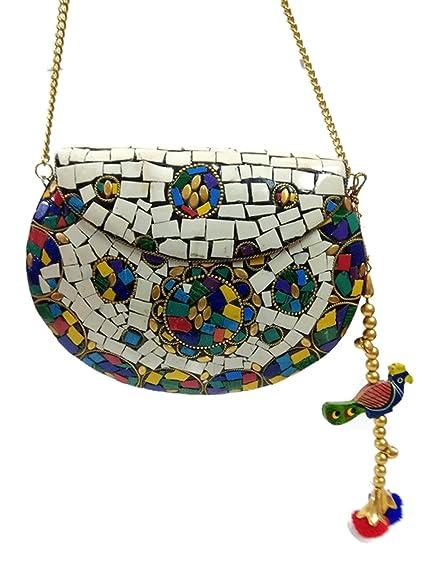 Trend Clutch Vintage Bolsos de metal hechos a mano mujeres embrague Mosaic stone purse Embragues bolso para las mujeres bolsos noche y embragues: Amazon.es: ...