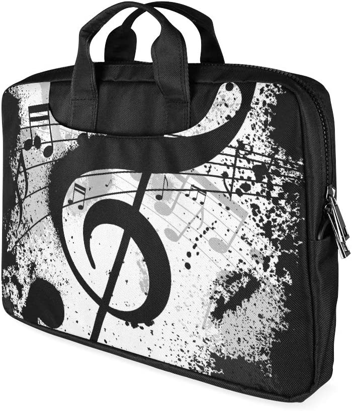 13 Inch Musical Music Note Black and White Women Briefcase Laptop with Handle Lightweight Laptop Protective Case Fits MacBook Air Pro