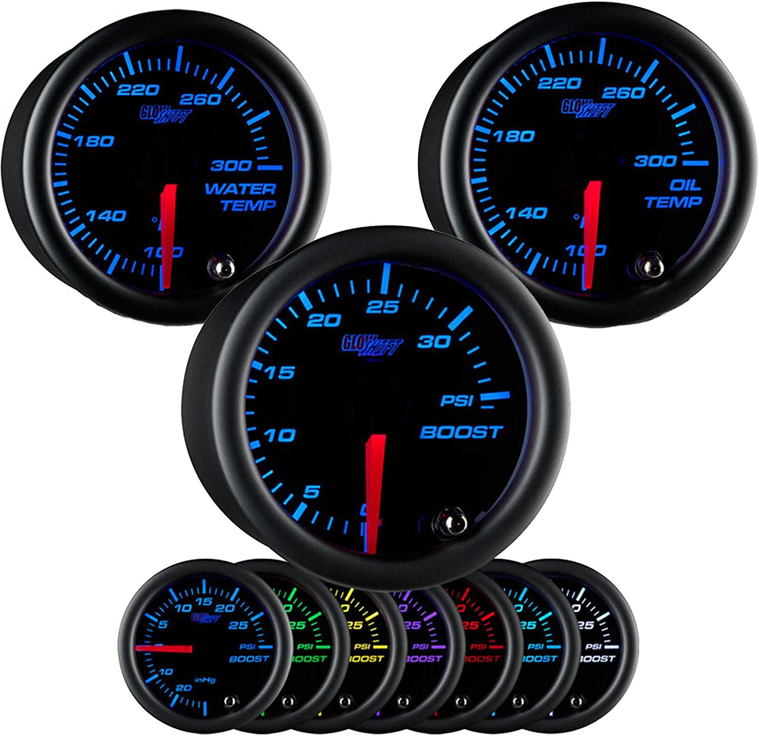 GlowShift Black 7 Color 35 PSI Boost Gauge by GlowShift