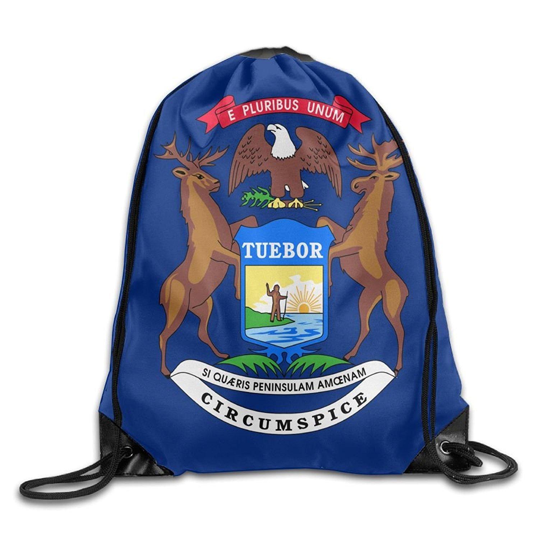 Michigan Flag Cute Gym Drawstring Bags Travel Backpack Tote School Rucksack