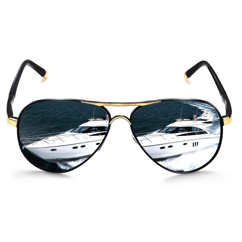 b54cae7e64e ROCKNIGHT Polarized Aviator Sunglasses for Men Women Metal Frame Flat Top  Sunglasses Black Grey Lens Ultralight UV400 Outdoors at Amazon Men s  Clothing ...