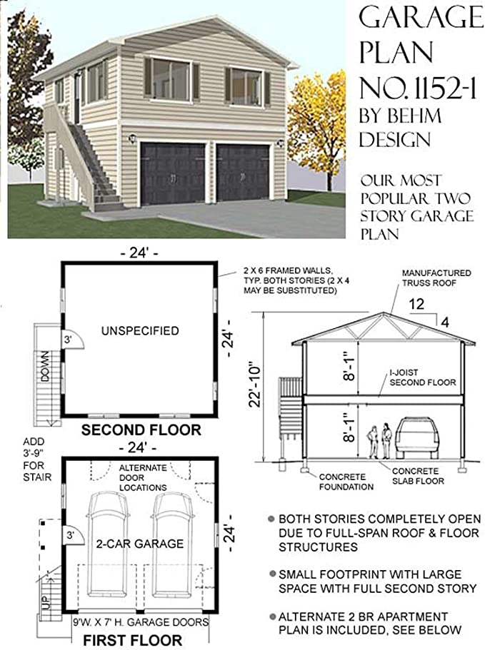 Garage Plans Two Car Two Story Garage With Apartment Outside Stairs Plan 1152 1 Amazon Com