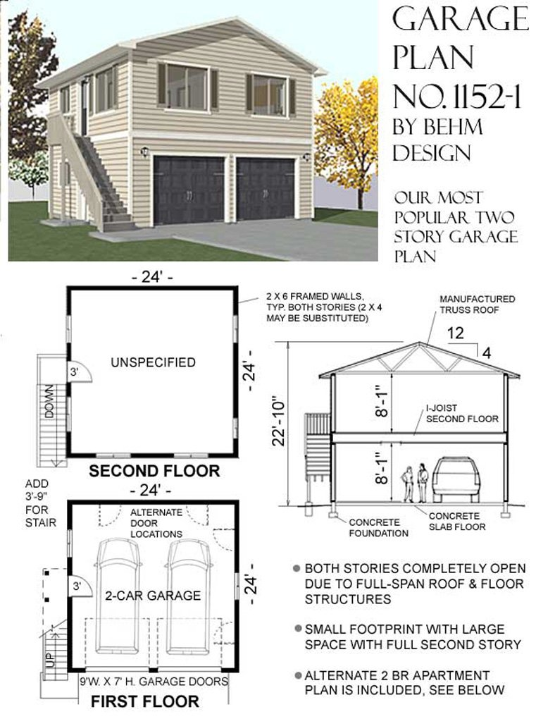 Garage Plans: Two Car, Two Story Garage With Apartment, Outside