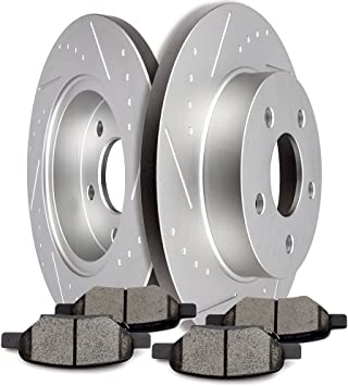 Max Brakes Front /& Rear Supreme Brake Kit Fits: 2007 07 Chevy Cobalt SS w//Rear Disc Brakes KM015183 E-Coated Slotted Drilled Rotors + Ceramic Pads