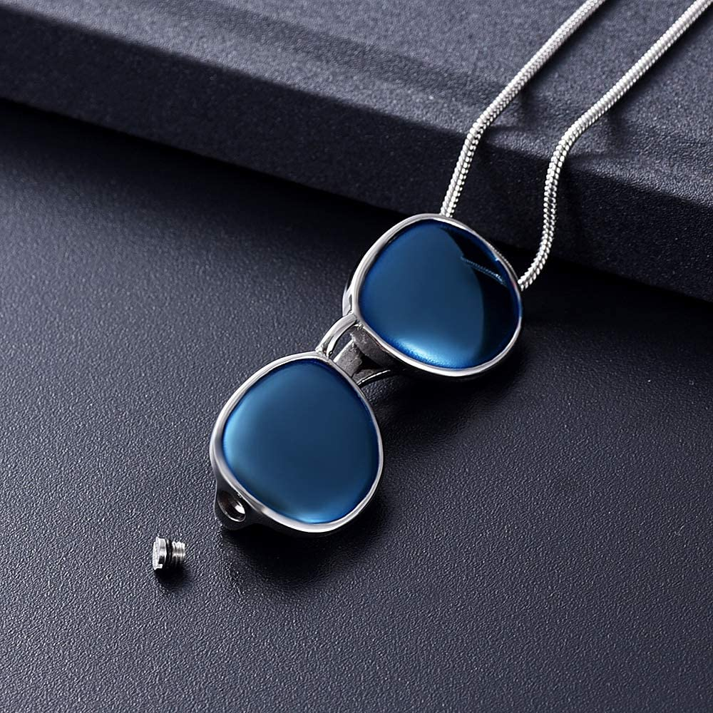 Yinplsmemory Cool Mens Sunglasses Urn Pendant Necklace for Ashes Keepsake Holder Cremation Jewelry with Funnel Filler Kit Ashes Memorial Urn Necklace