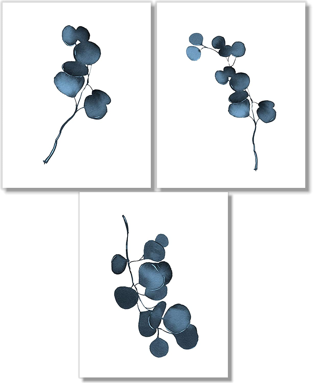 Botanical Prints Wall Art - Eucalyptus Leaves Decor - Blue Wall Art - Set of 3-5x7 - Unframed