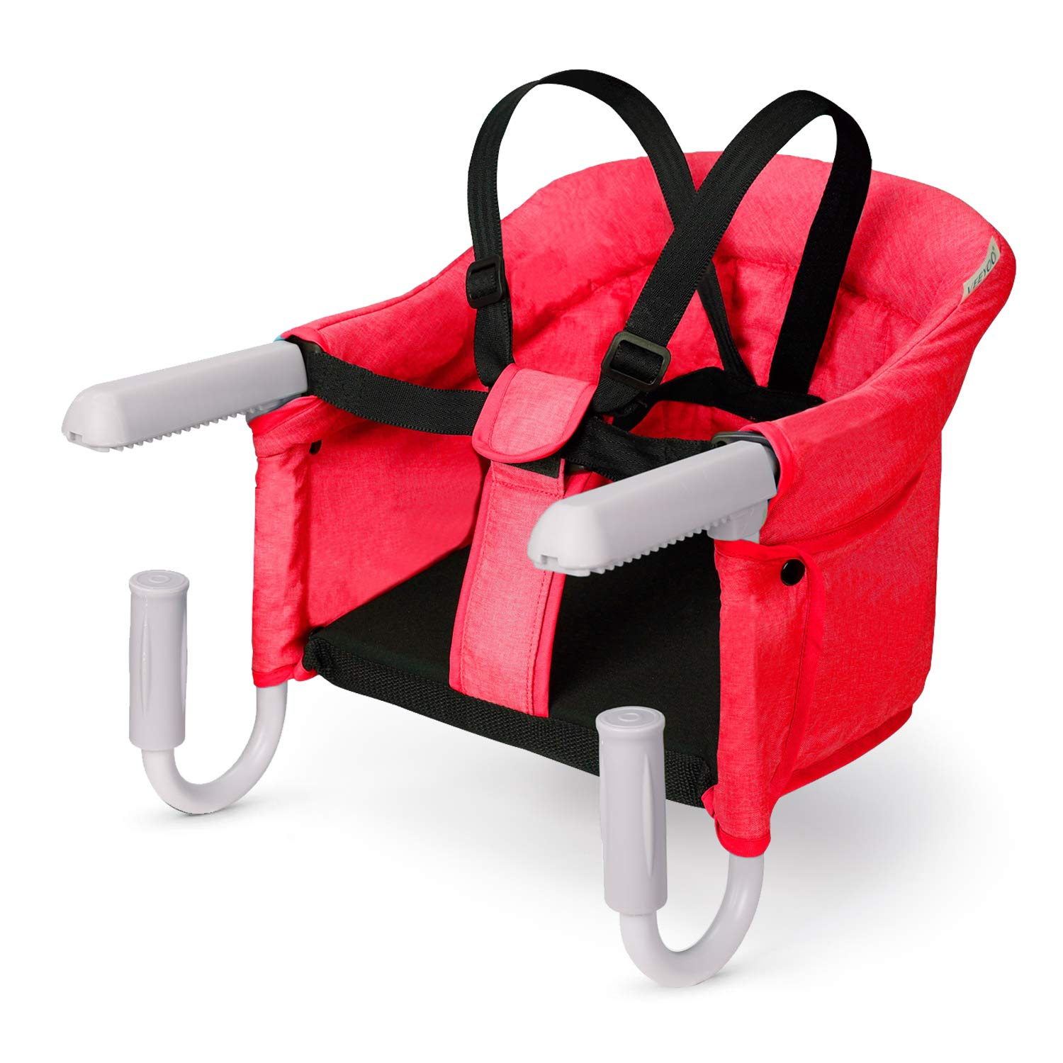 VEEYOO Hook On Chair - Compact Fold Clip On High Chair for Baby Toddler, Machine Washable Portable High Chair for Travel (Red)