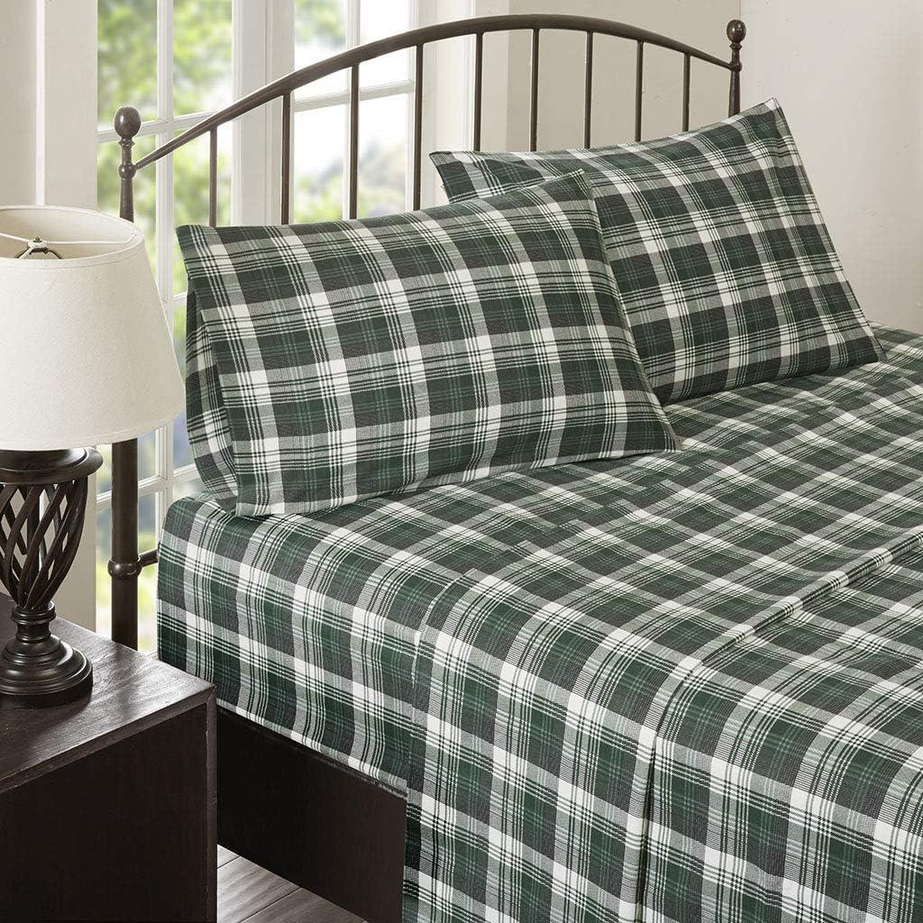 Amazon Com Woolrich Flannel Cotton Sheet Set Green Plaid Queen Home Kitchen