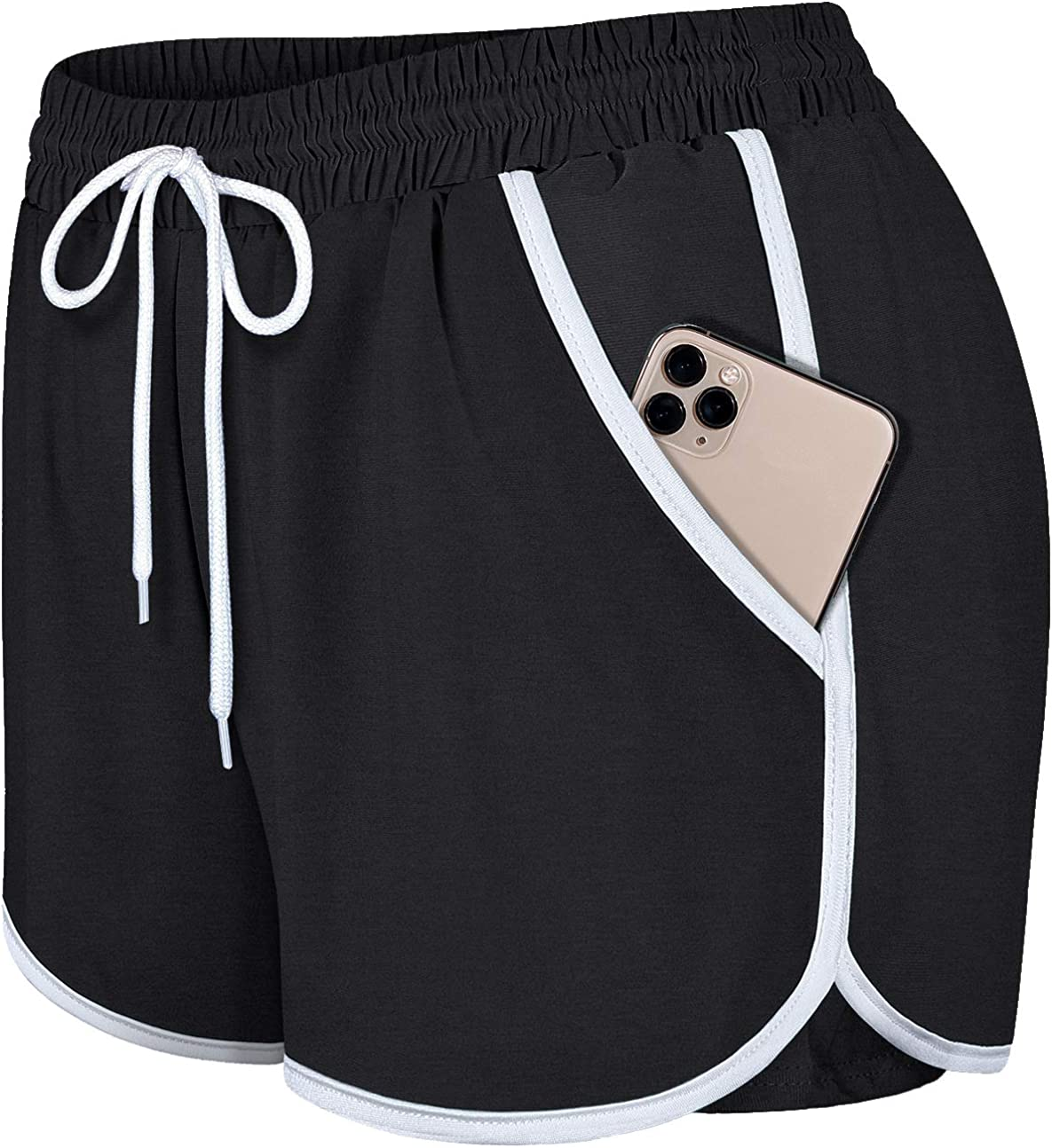 Blevonh Womens Cozy Banded Waist Running Fitness Workout Shorts with Pockets S-XXXL: Clothing