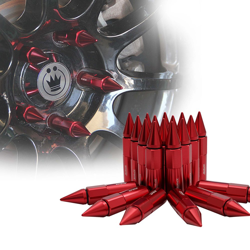 Xprite Red Aluminum 90mm Spike Extended Nut Refit Wheel Lug Nuts / Tire Screw M12x1.5