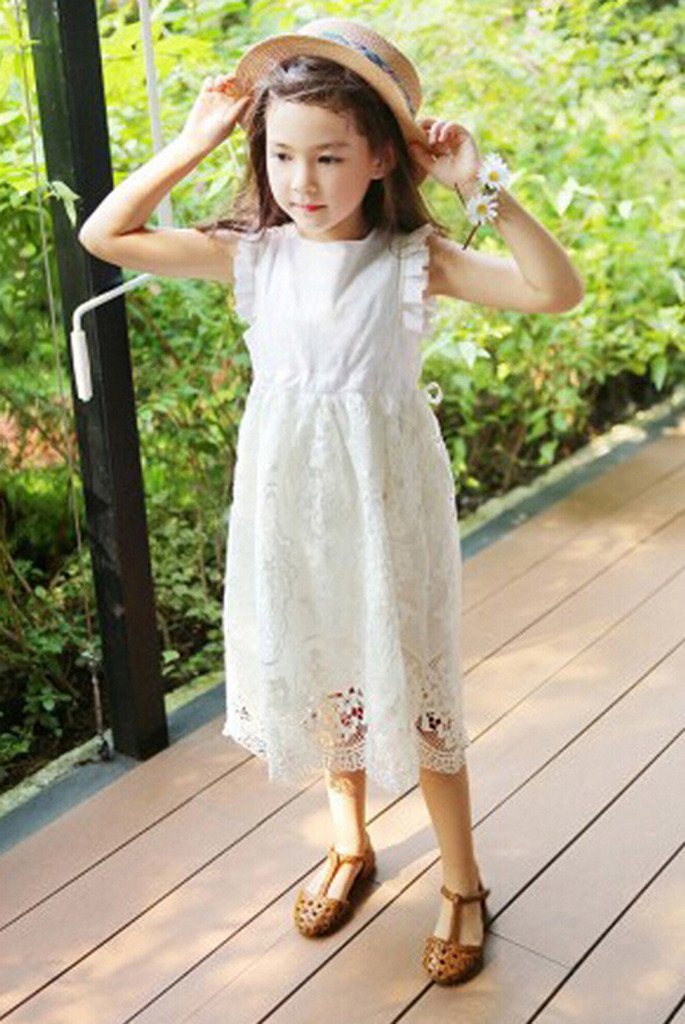 Bow Dream Flower Girl's Dress Vintage Lace Off White 10 by Bow Dream (Image #2)