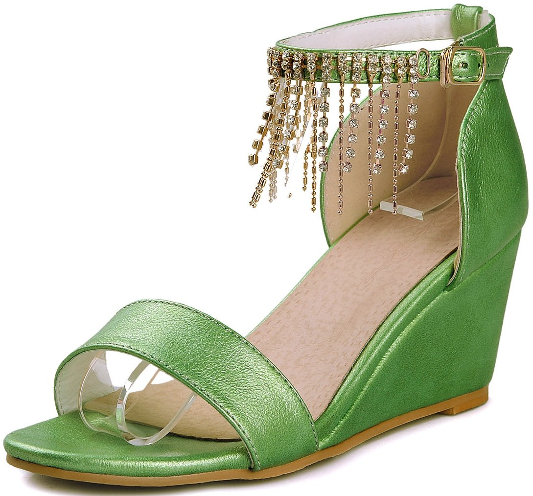 KingRover Women's Pendant Open Toe Single Band Ankle Strap Comfy Shoes Mid Heels Wedge Sandals B07BSY6X9T 3 B(M) US|2green